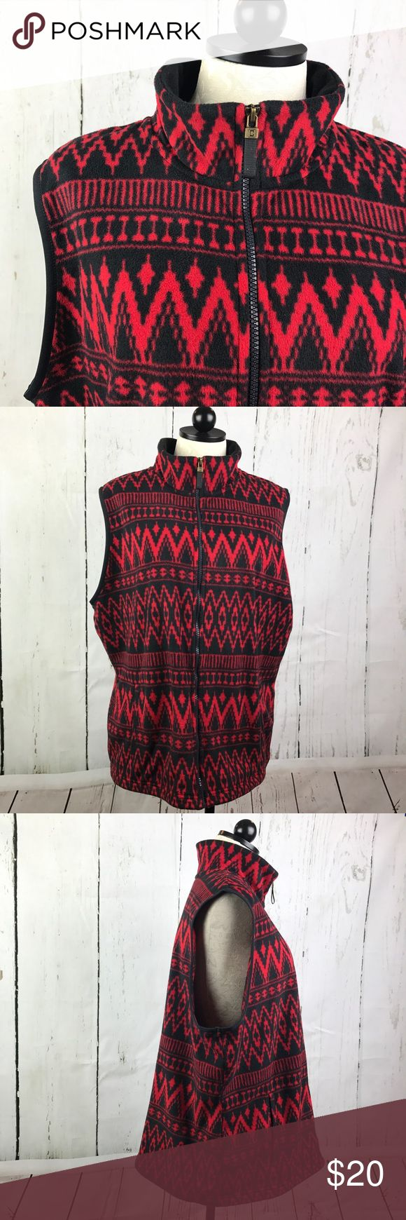 """Chaps Fleece Zip Up Vest Jacket Women's Plus Perfect for Fall!🍁and winter☃️! Oh so soft with beautiful Aztec pattern!! Mockneck and front side pockets  26"""" Length back neckline to hem 26"""" bust, Underarms across the front Great condition with no rips, stains, etc. Reasonable offers accepted😊 Happy shopping!🌼 Chaps Jackets & Coats Vests"""