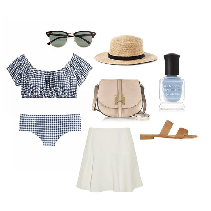 An off-the-shoulder bikini with an airy skirt, sunnies, sandals, and high-style finishing touches.