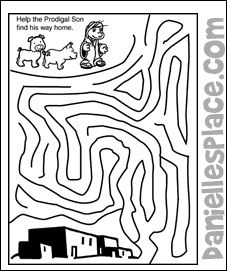 """""""Help the Prodigal Son Find His Way Home"""" Activity Sheet from www.daniellesplace.com"""