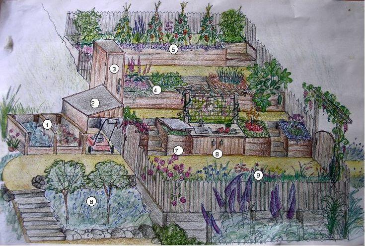 Garden Porn: A steep hillside vegetable garden terraced in Marin.  Terraced raised beds halfway down to the lake bank
