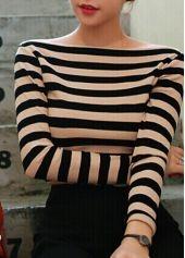 Elegant Boat Neck Cotton T Shirt with Stripe