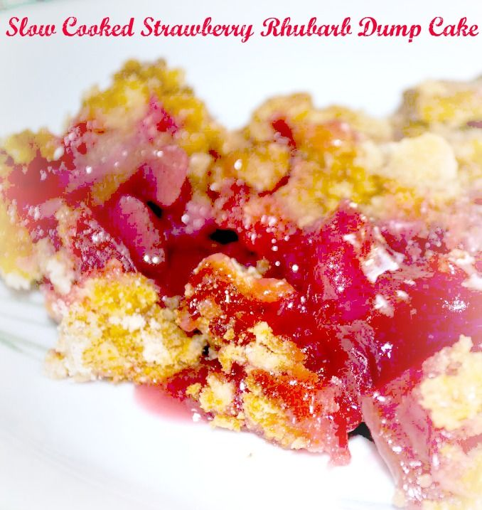 #SlowCooked Strawberry-Rhubarb #DumpCake - Makes my mouth water! Mom 'N Daughter Savings