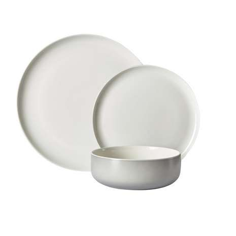 Manhattan 12 Piece Matte Grey Dinner Set | Dunelm