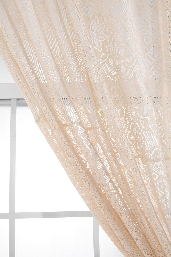 Cotton lace curtains - Overview Light And Breezy Cotton Lace Window Curtain Different Patterns Patched Together For A Unique Design Tunneled Top Matching Side Tie Sold