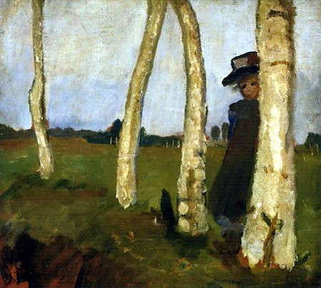 Paula Modersohn-Becker - Figurative Painting - German Expressionism - Girl with Hat between Birch Trunks.