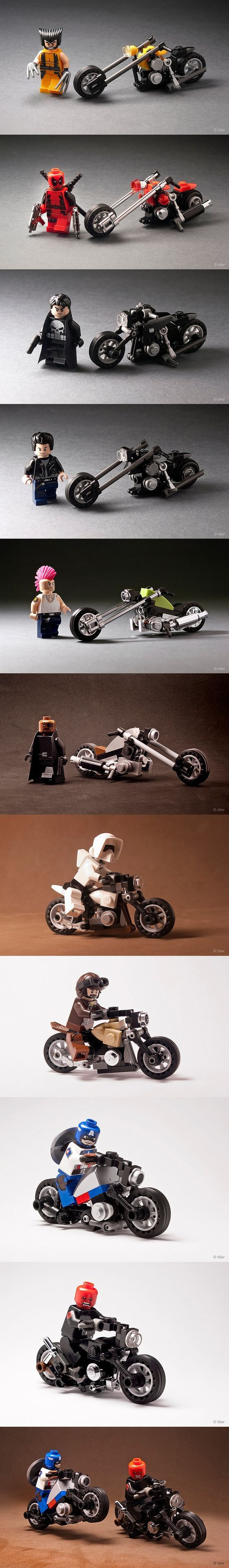 AMAZING LEGO Bikes with wolverine, deadpool,ghost rider ....: