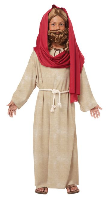 Jesus Christmas Nativity Costume - Perfect for passion plays and nativities this Jesus costume is simple and has an elegant touch fit for a king. This Kids Jesus costume includes a beige robe with an attached rope belt and a long red scarf that can be wrapped around the head and shoulders. This Kids Jesus costume is wonderful for Christmas Nativity or Easter Passion plays. Check out our other Kids Nativity costumes as well! #yyc #calgary #costume #Christmas #Nativity #Easter