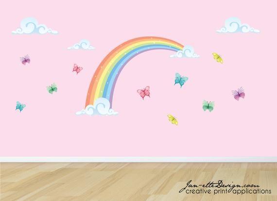 Sticker mural arc-en-ciel pastel avec nuages