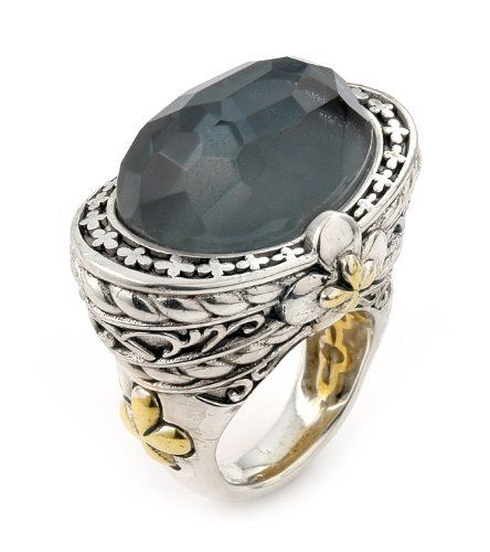 Signature Authentico Hematite Oval Faceted Smokey Quartz Doublet Ring With Black And Brass Accents, Size 8 Signature Collection by Alan K.. $238.00