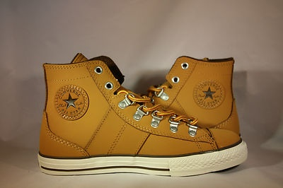 Want to distress the heck out of these bad boys. Converse Chuck Taylor Leather Golden Wheat Brown Hiker Sneaker Hi Top  Tel