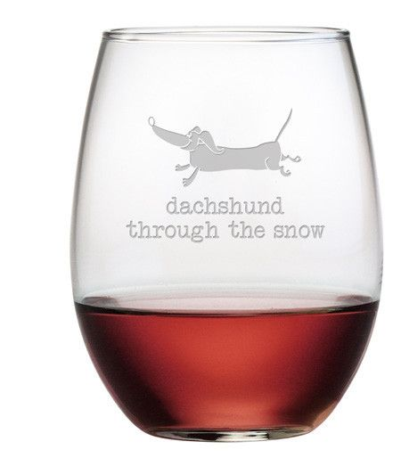 Dachshund Through Stemless Wine Gles Set Of 4