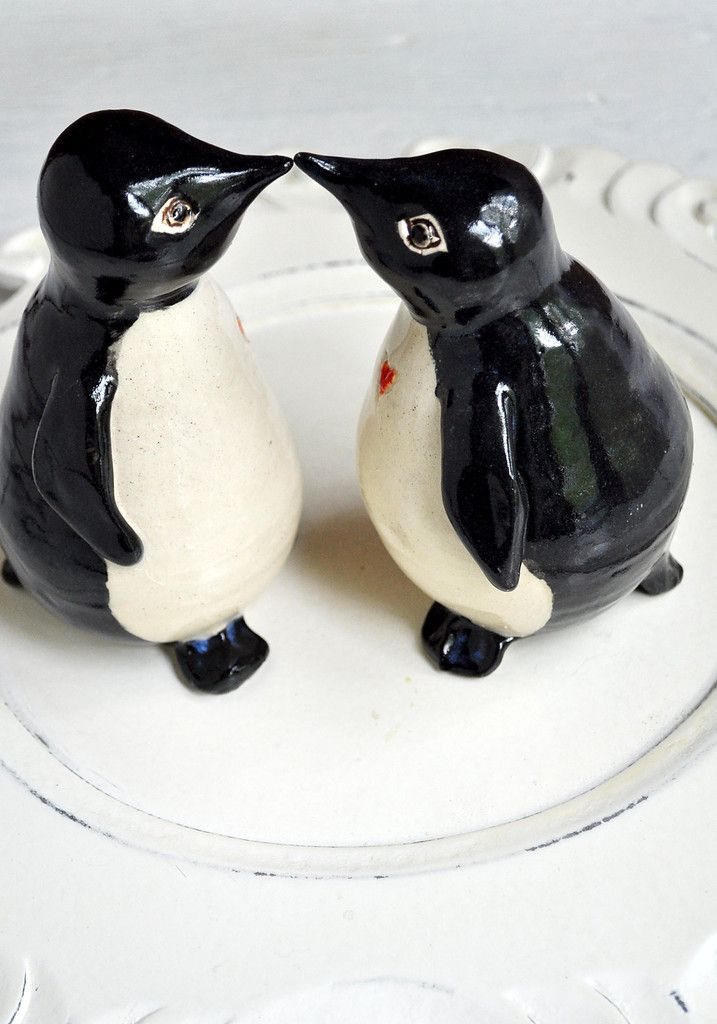 Penguin Wedding Cake Toppers handmade by Lee Wolfe Pottery