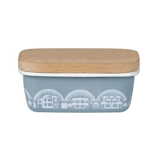 Wild & Wolf Mini Modern Chalkhill Blue Enamel Butter Dish - Wild & Wolf is a range of products designed to bring light, laughter and fun into everyday life. Mini Moderns founders Mark and Keith combine a love of pattern and colour with a passion for 20th century design to create stylish accessories that look great in any home.