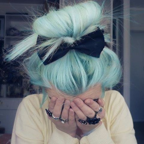 Green mint Hair color style with Bow #hairstyle #haircolor #pastelhair #alternativegirl