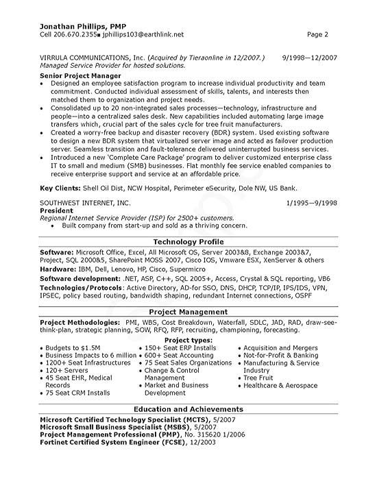 senior it manager in 2021  project manager resume