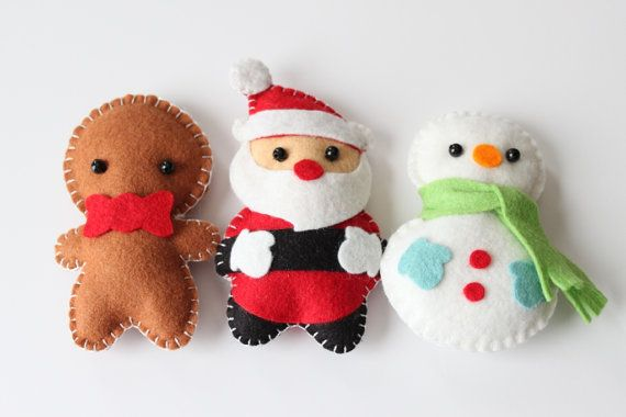 Felt Plush Ornaments Santa Claus, Snowman & Gingerbread Man - Merry Christmas Decor - Set of 3 / Includes Ribbon for Free $30