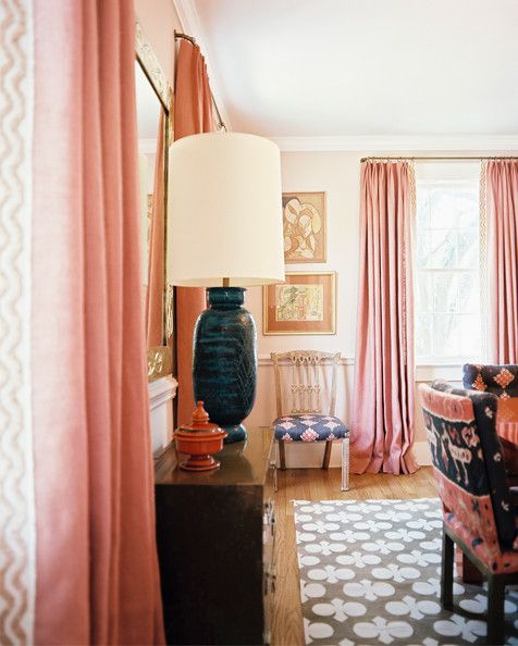 artistic rustic bohemian home decor color palette | Angie Hranowsky - Pink curtains and upholstered chairs in a patterned boho style ...
