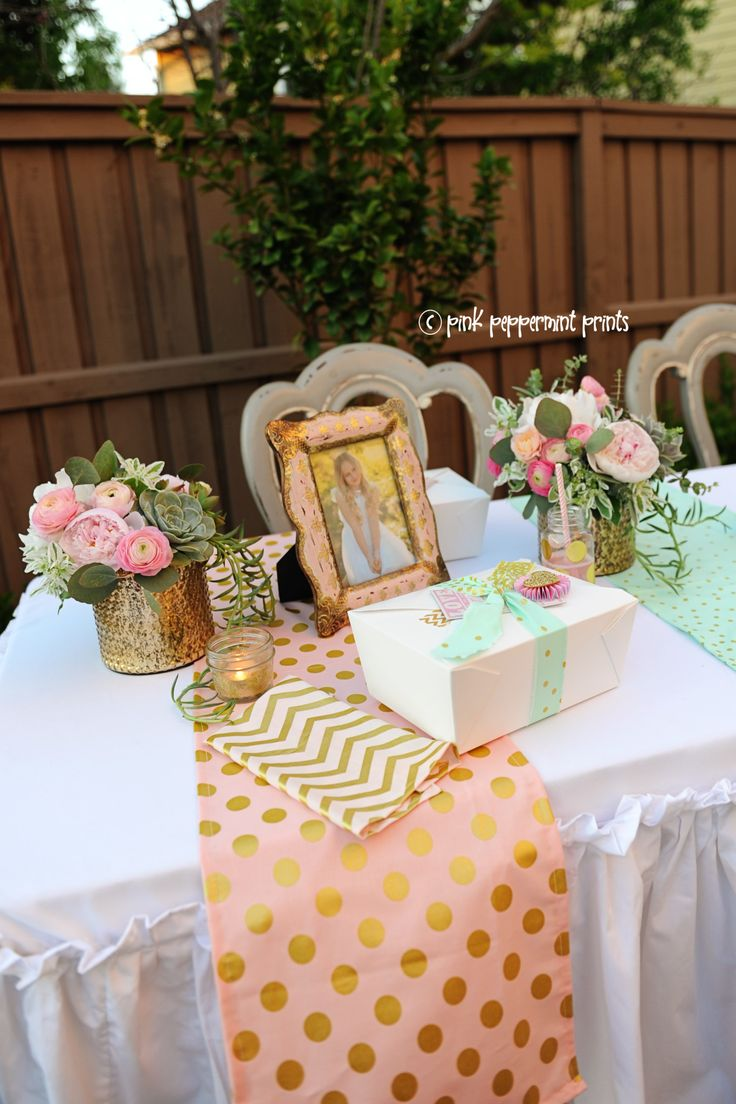 baptism party bridal shower pink gold and mint