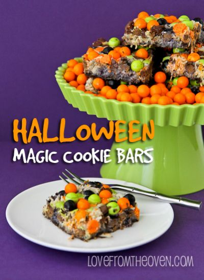 Halloween Magic Cookie Bars @Christi   Love From The Oven
