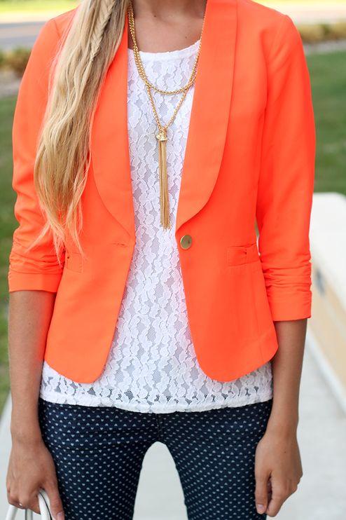 Charlotte Russe Neon Orange Ruched Sleeve Single Button Blazer