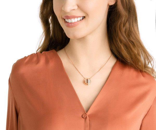 Swarovski Dear Necklace, Medium, White, Rose gold plating