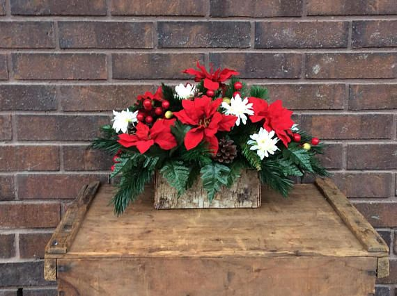 Tremendous Artificial Christmas Flower Arrangement Rustic Birch Bark Home Interior And Landscaping Ologienasavecom
