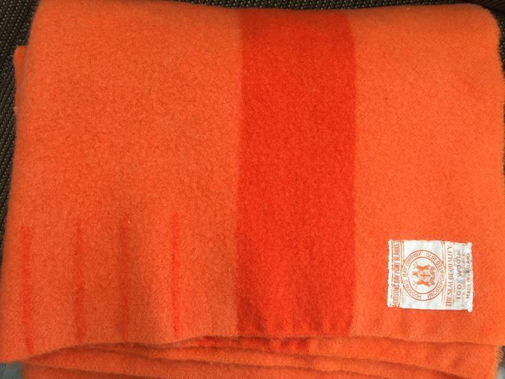 "Hudson's Bay wool blanket: 4 point, 59""x74"", Tango orange color, 1950+."