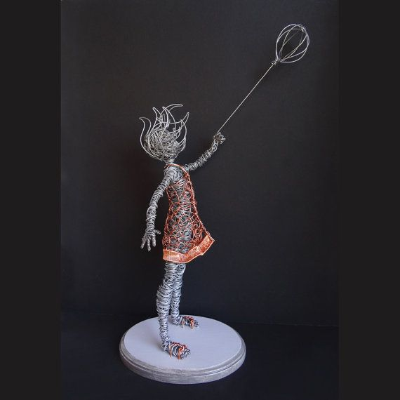 Girl with Balloon Wire Sculpture Mixed Metal 23 by sparkflight