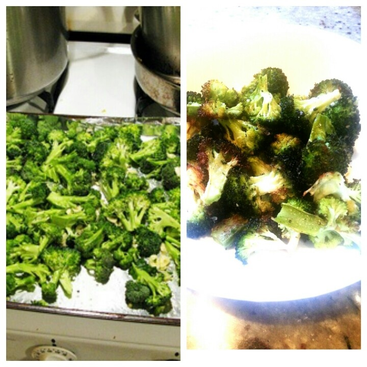 Brocolli baked with garlic, salt & pepper. You will never eat brocolli another way than this.  I left out the garlic because my kids aren't fans of it.  Just put the brocolli in a bowl, add salt, pepper and small amount of olive oil, toss and place on cookie sheet and bake. ~ Melissa