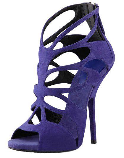 2014 novo gz sexy moda roxo recorte Sapatos gladiador salto alto senhoras sandálias de verão sapatos femininos mulher Sandálias