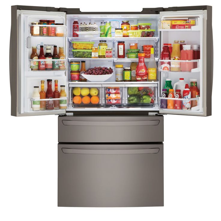 Shop LG 22.7-cu ft 4-Door Counter-Depth French Door Refrigerator with Single Ice Maker (Black Stainless) ENERGY STAR at Lowes.com
