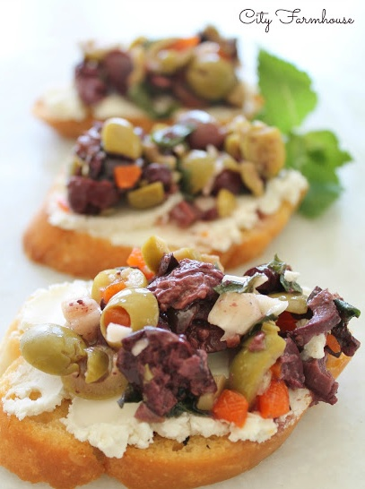 Herbed Olive Tapenade with Goat Cheese Bruschetta! Great healthy appetizer!