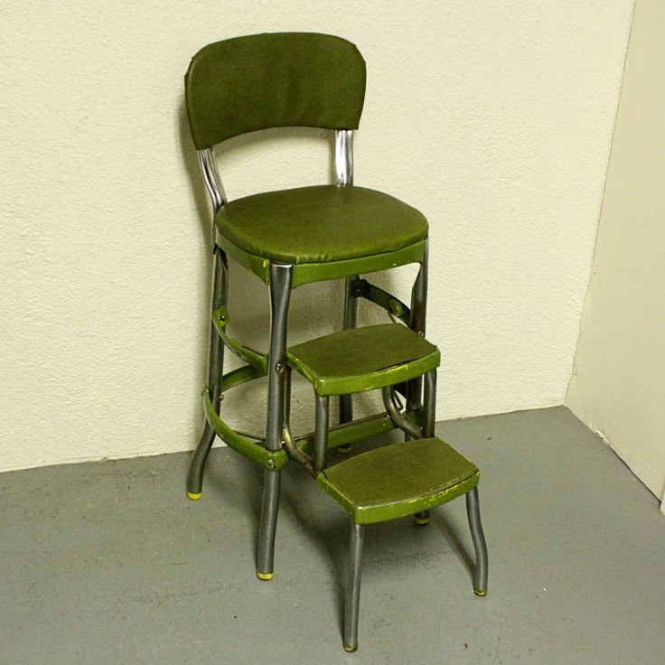 Vintage Cosco Stool Step Kitchen Chair Fold Out Steps Pull Green