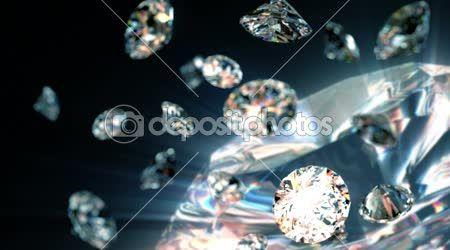 Pomalu klesající diamanty, krásné pozadí. bezešvými smyčky 3d animace — Stock video #32062747