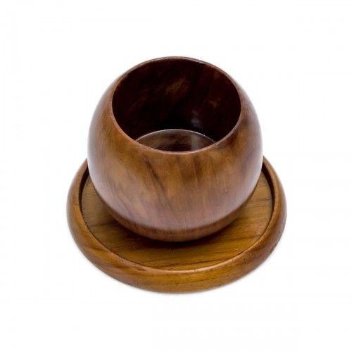 Tinabo | gelas minum mug bulat teh kopi cangkir kayu jati dapur dekor interior design decoration