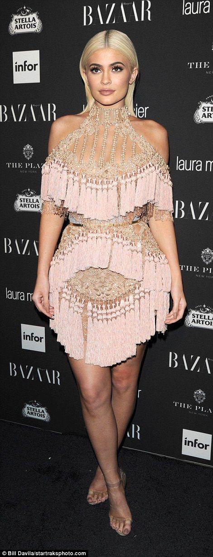 Kopy Kylie in a tasseled Balmain dress #DailyMail