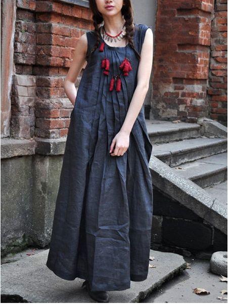 Boho cotton linen dress