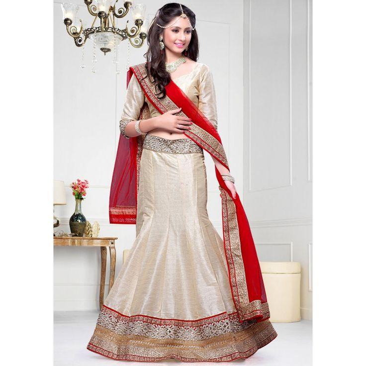 Glossy Cream Dupion Silk Wedding #Lehenga Choli- $82.27