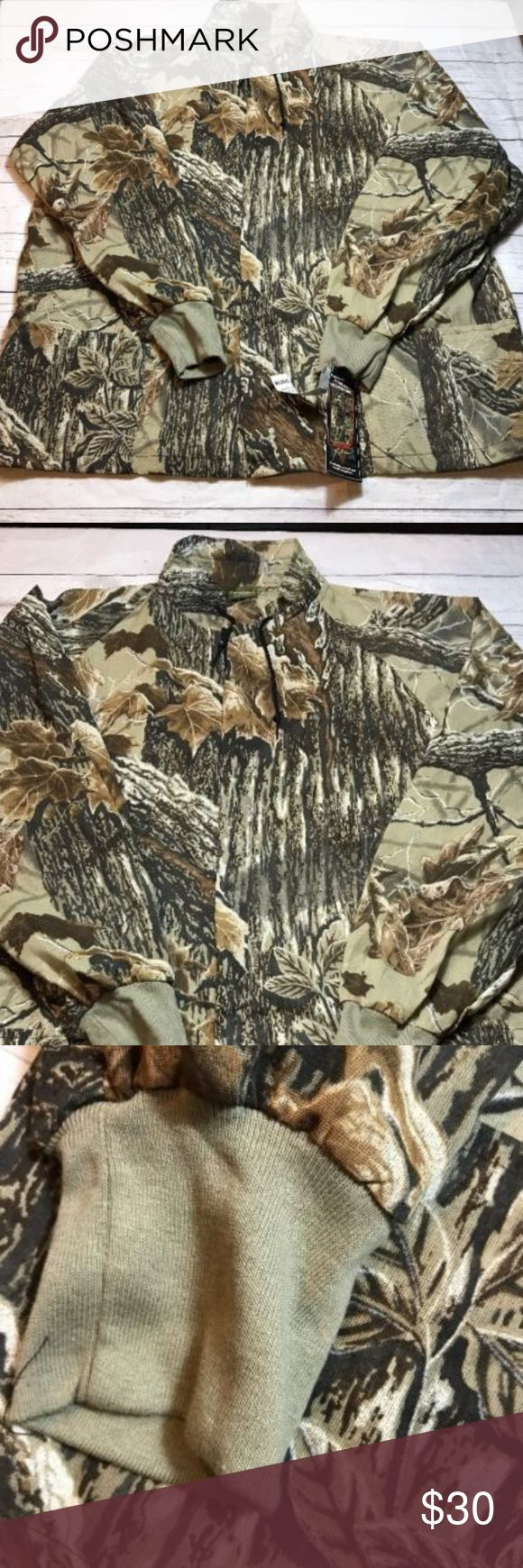 "Realtree Jacket Men's L/XL NWT Camouflage Full Zip Real tree Spartan men's Net jacket. This has no lining. 2 pockets to front. Draw string neck. New with tags. Tag states L/XL.  Chest: 26""  Length: 29.5""  Thanks for looking!  Please subscribe to my store for updates on new items!  E Realtree Jackets & Coats Military & Field"
