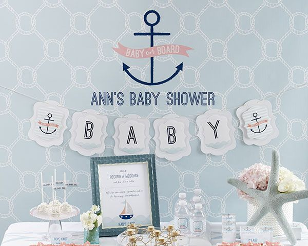 Personalized Photo Booth Backdrop - Nautical Baby Shower Decor by Kate Aspen