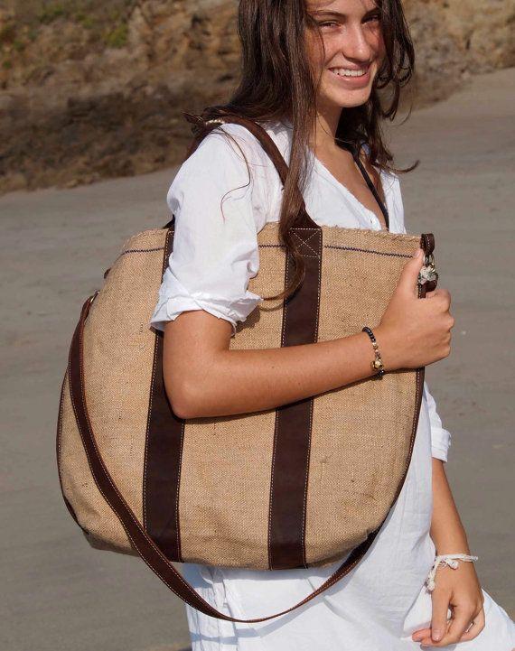 Bag leather natural  brown dye whole weaved от elisabethleroy1