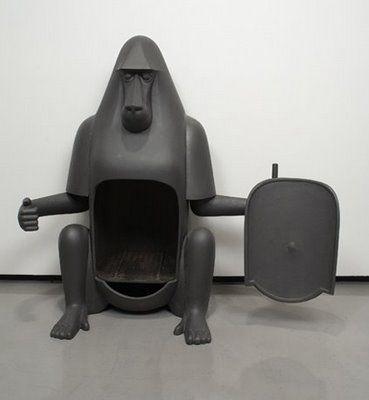 Cast Iron Gorilla pot-bellied stove by François-Xavier Lalanne