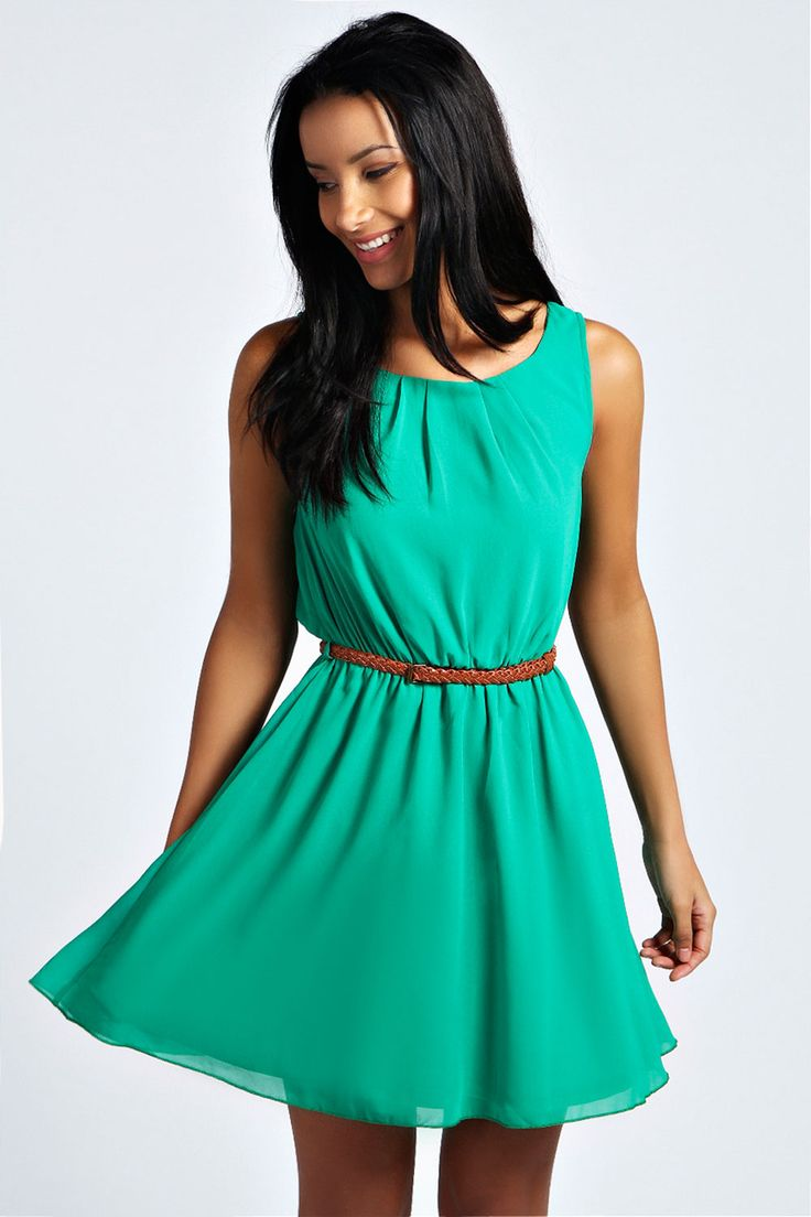 Frankie Sleeveless Chiffon Belted Skater Dress at boohoo.com