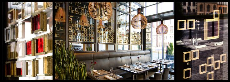 GLASS SQUARES  Glass wall composition with gold squares, Hotel Europeum & Restaurant Brasserie 27. W