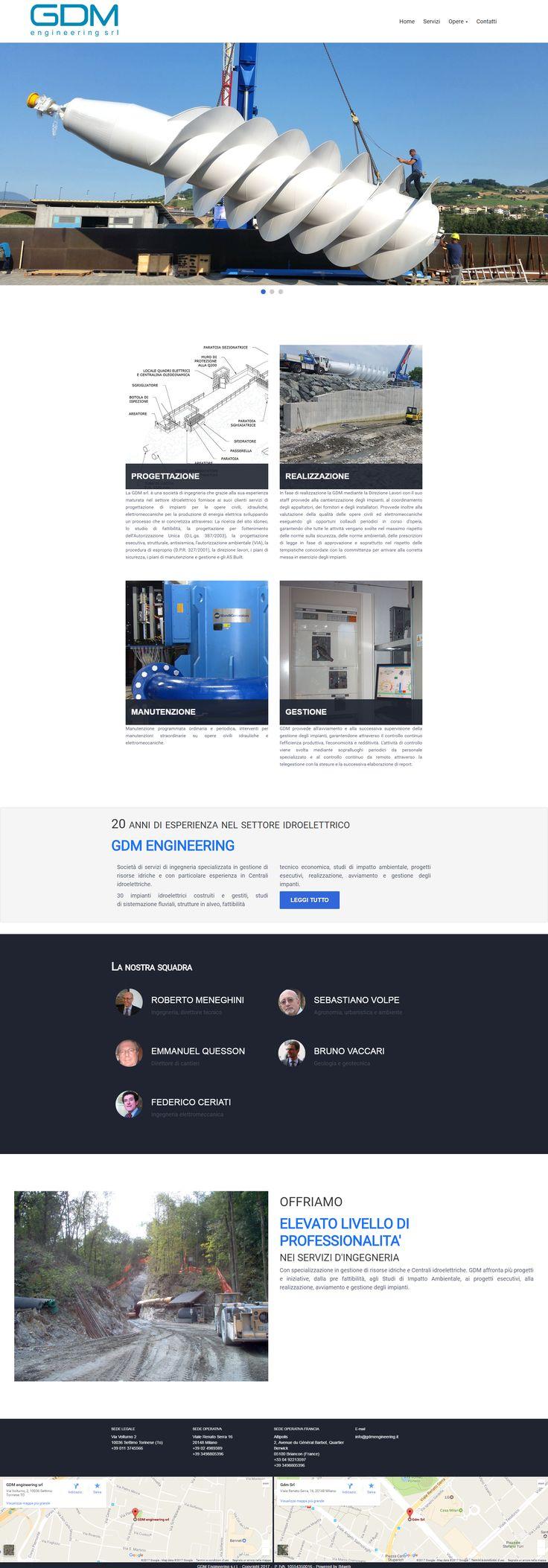 Realizzazione sito web. La GDM srl. è una società di ingegneria che grazie alla sua esperienza maturata nel settore idroelettrico fornisce ai suoi clienti servizi di progettazione di impianti per le opere civili, idrauliche, elettromeccaniche per la produzione di energia elettrica.