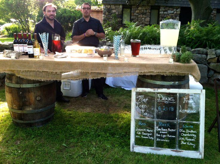 Wine Barrel & Burlap Bar, Accented with Old Barn Window drink menu