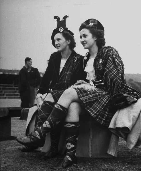 +~+~ Vintage Photograph ~+~+ Young women about to compete in a dancing contest at the Banff Highland Gathering. Photograph by Hans Wild. Scotland, September 1946.
