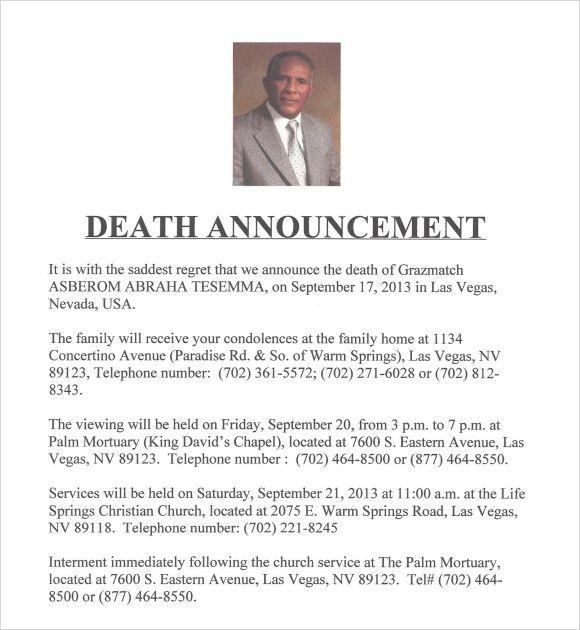 Death Announcement Template