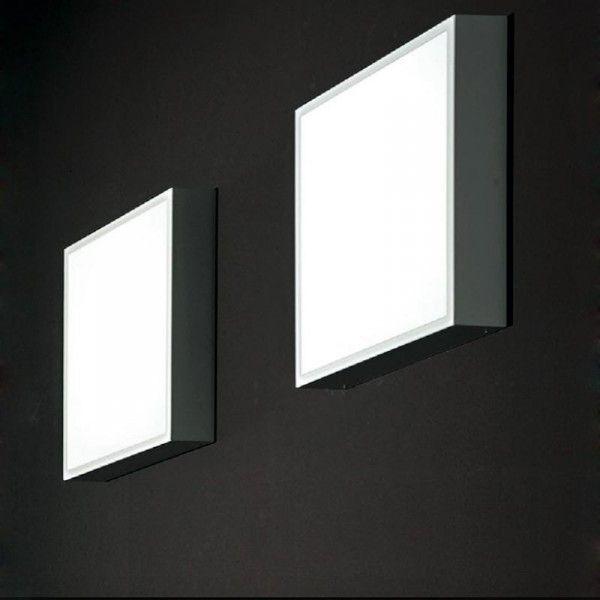 LineaLight Box Led lampada da parete o soffitto con cornice in metallo verniciato bianco o grigio scuro (beton) e diffusore in polimetilmetacrilato satinato bianco.