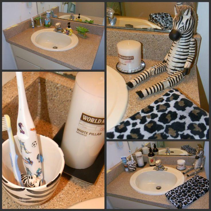Little boy s bathroom modern black white safari kids bathroom